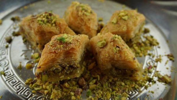 Baklava met pistache en honing